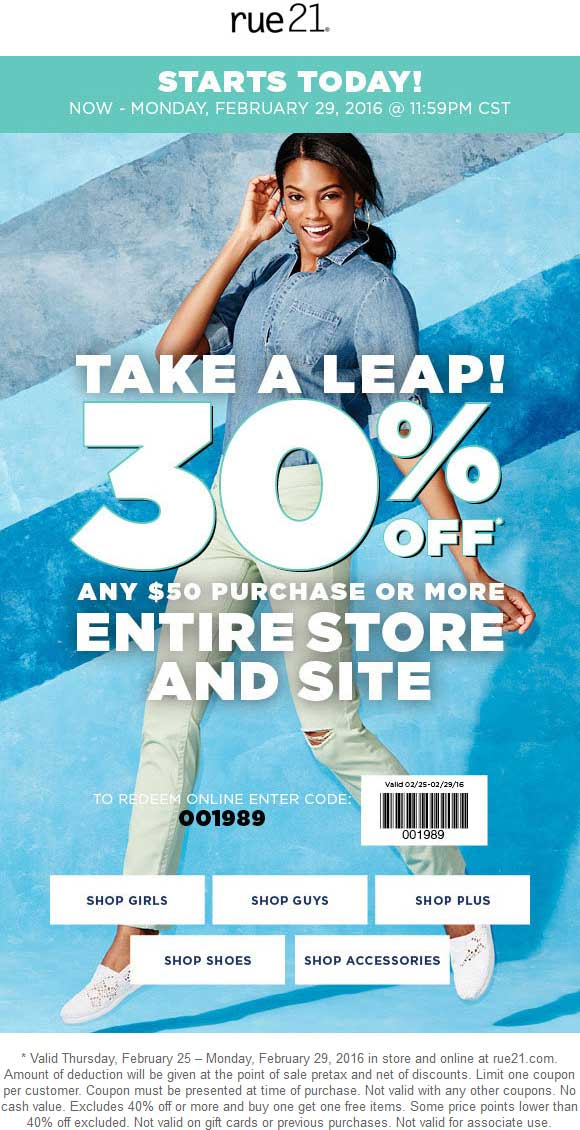 Rue21 Coupon March 2019 30% off $50 at rue21, or online via promo code 001989