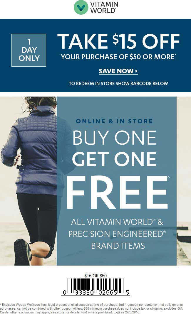 Vitamin World Coupon March 2018 $15 off $50 today at Vitamin World