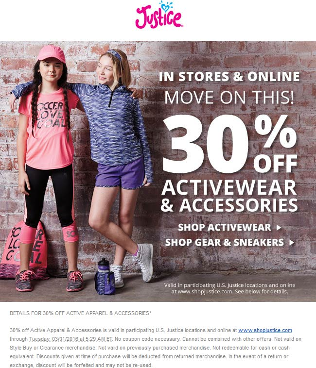 Justice Coupon May 2017 30% off accessories & active apparel at Justice, ditto online