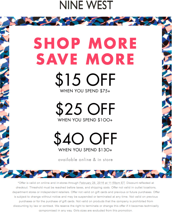 Nine West Coupon May 2017 $15 off $75 & more at Nine West, ditto online
