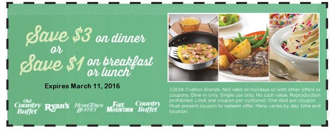 Old Country Buffet Coupon September 2017 $1-$3 off at Ryans, Hometown Buffet, Fire Mountain & Old Country Buffet