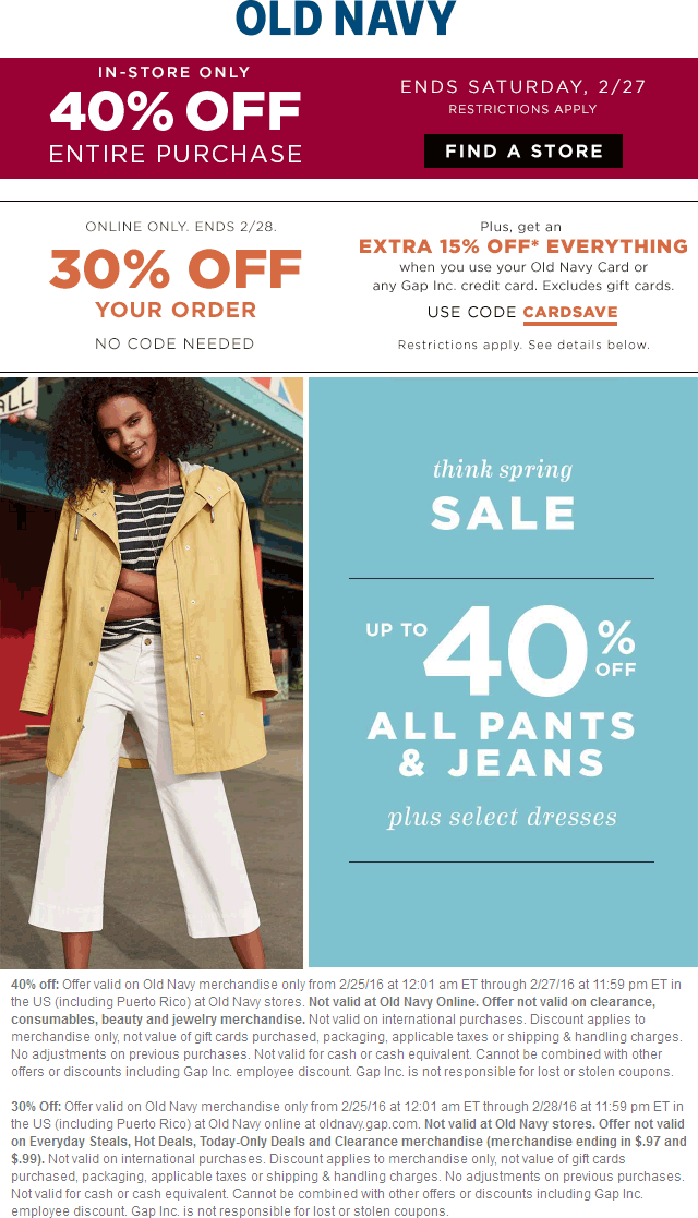 Old Navy Coupon February 2017 40% off everything at Old Navy, or 30% off online