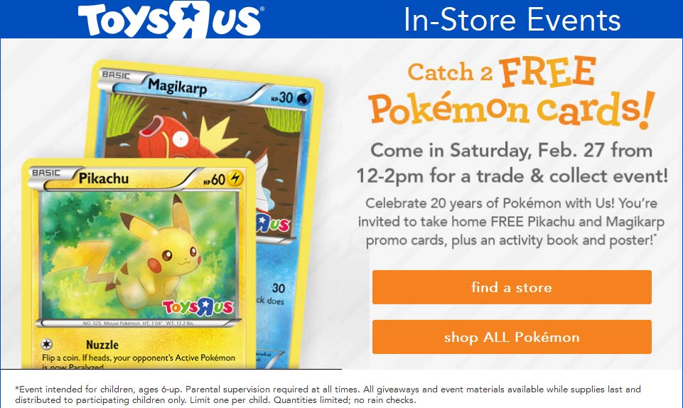 Toys R Us Coupon April 2018 Couple free Pokemon cards 12-2pm Saturday at Toys R Us