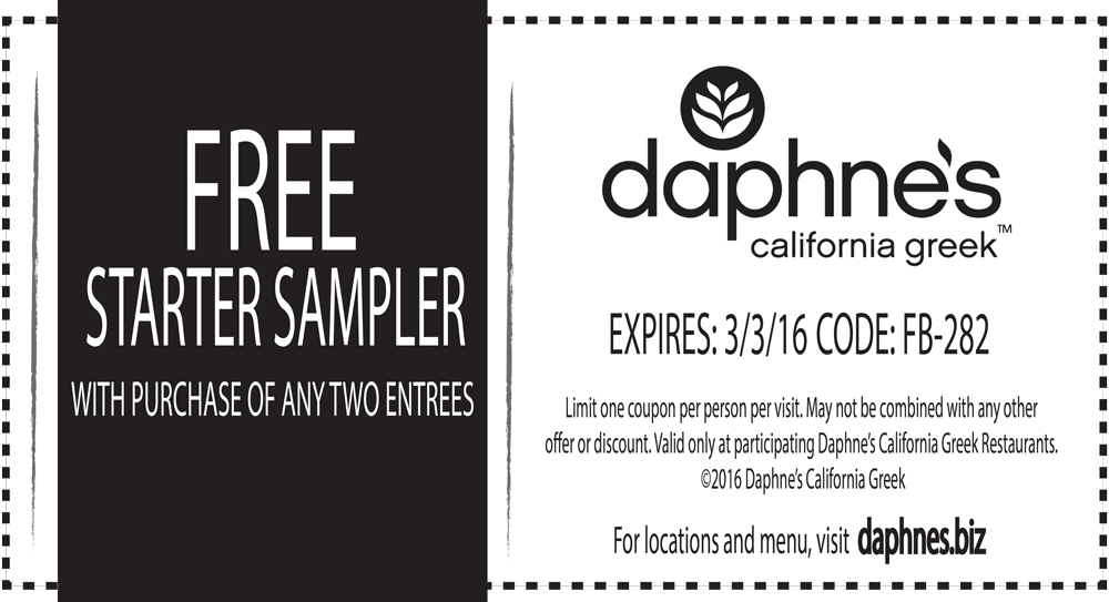 Daphnes Coupon June 2017 Free starter sampler with your entrees at Daphnes California Greek restaurants