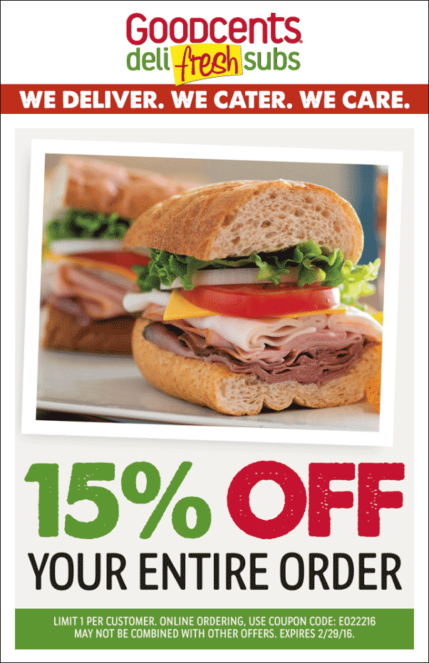 Goodcents Coupon October 2016 15% off at Goodcents deli fresh subs