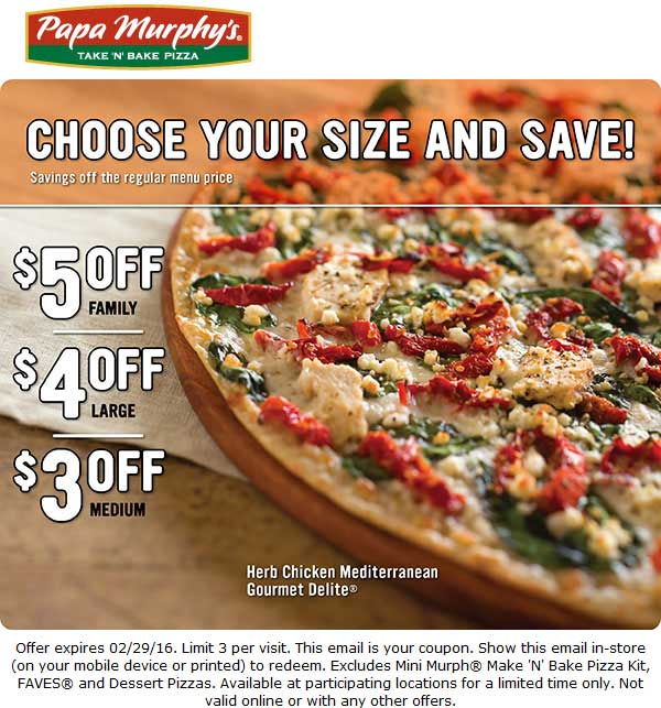 Papa Murphys Coupon March 2017 $3-$5 off a pizza at Papa Murphys