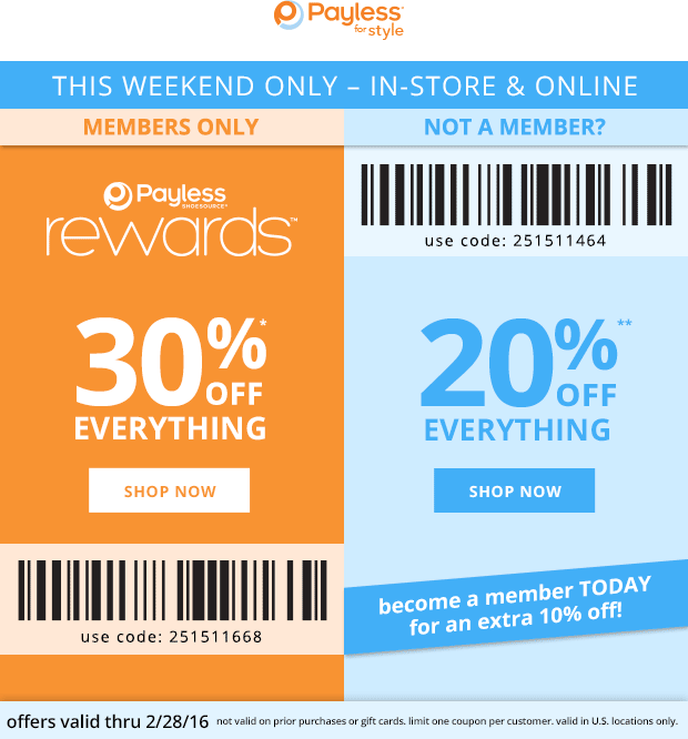 Payless Shoesource Coupon August 2018 20% off at Payless Shoesource, or online via promo code 251511464