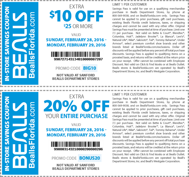 Bealls Coupon March 2019 $10 off $25 & more at Bealls, or online via promo code BIG10