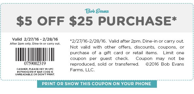 Bob Evans Coupon June 2017 $5 off $25 today at Bob Evans restaurants