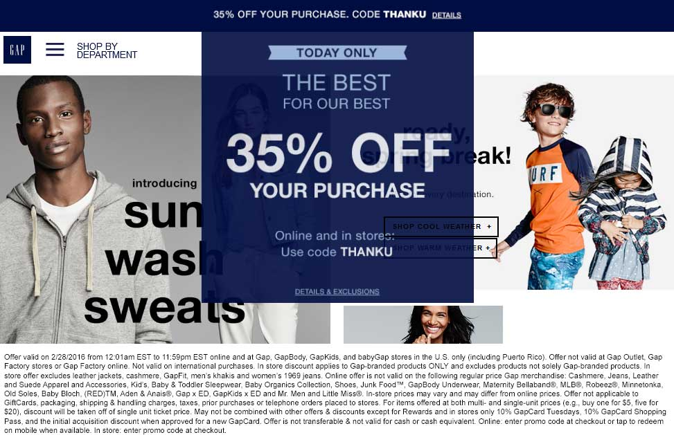 Gap Coupon April 2017 35% off today at Gap, or online via promo code THANKU
