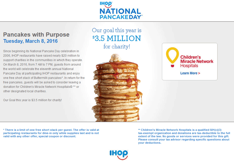 IHOP Coupon March 2019 Free pancakes for charity the 8th at IHOP