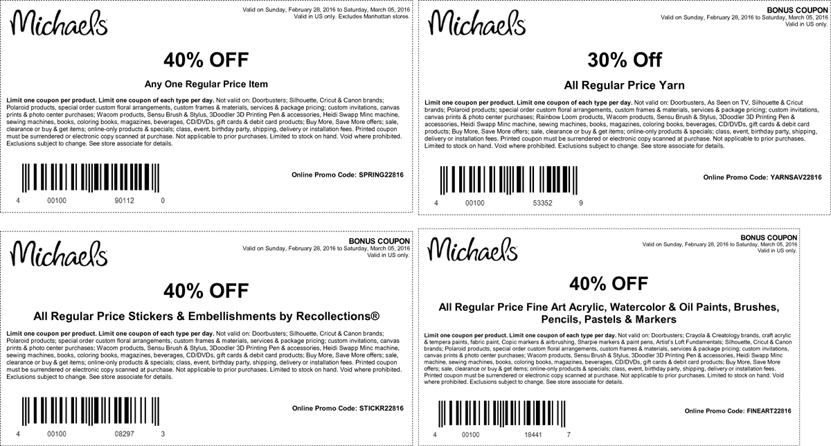 Michaels Coupon November 2017 40% off a single item at Michaels, or online via promo code SPRING22816
