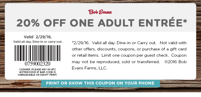 Bob Evans Coupon January 2018 20% off a single entree at Bob Evans