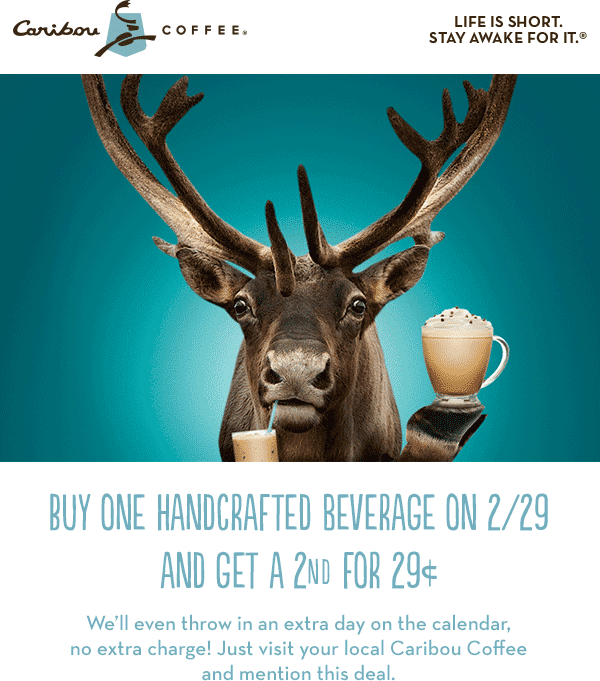 Caribou Coffee Coupon July 2017 Second coffee .29 cents today at Caribou Coffee