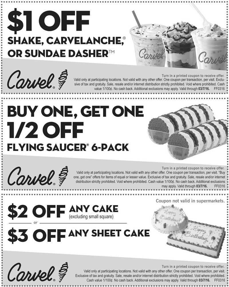 Carvel Coupon July 2017 Shave a buck off your shake & more at Carvel ice cream