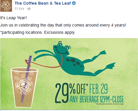 Coffee Bean & Tea Leaf Coupon March 2017 29% off any beverage today at The Coffee Bean & Tea Leaf