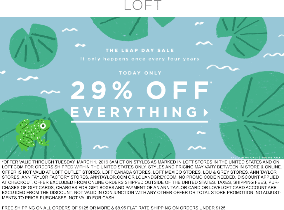 LOFT Coupon October 2016 29% off everything at LOFT, ditto online