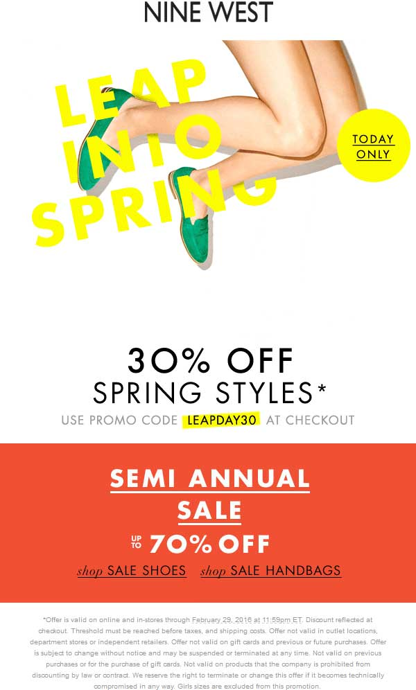 Nine West Coupon June 2019 30% off spring styles today at Nine West, or online via promo code LEAPDAY30