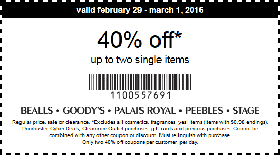 Stage Coupon August 2017 40% off a couple items at Bealls, Goodys, Palais Royal, Peebles & Stage stores