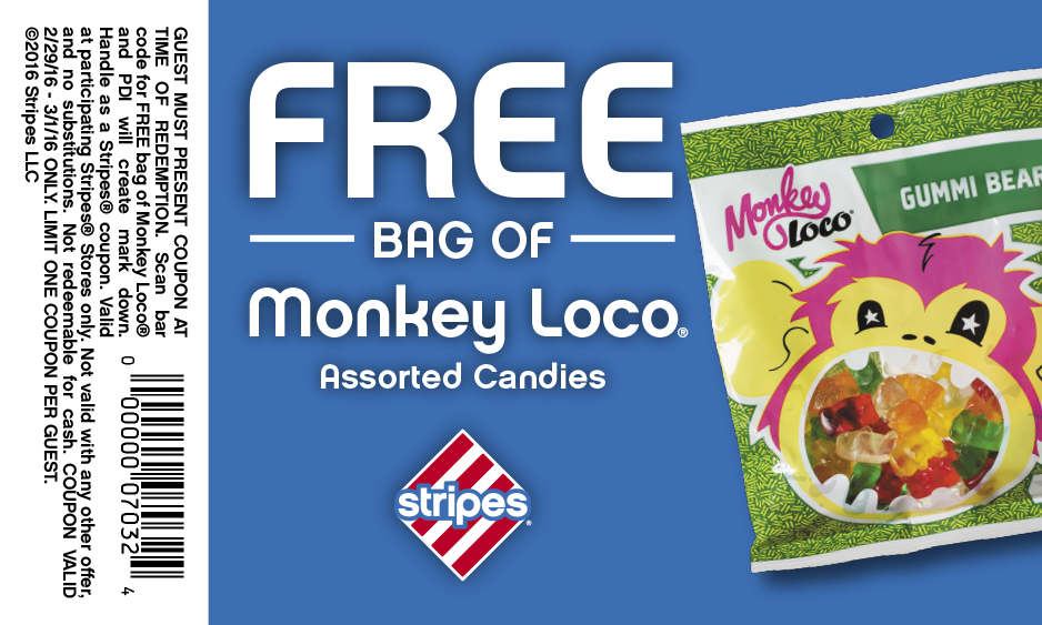 Stripes Coupon February 2017 Free bag of candy at Stripes gas stations