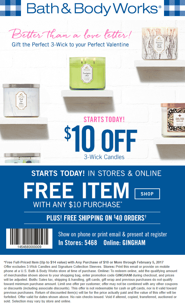Bath & Body Works Coupon August 2018 $14 item free with $10 spent at Bath & Body Works, or online via promo code GINGHAM