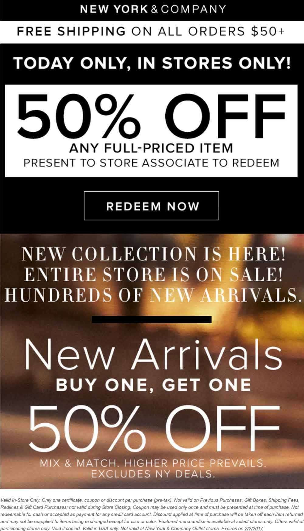New York & Company Coupon March 2019 50% off a single item today at New York & Company