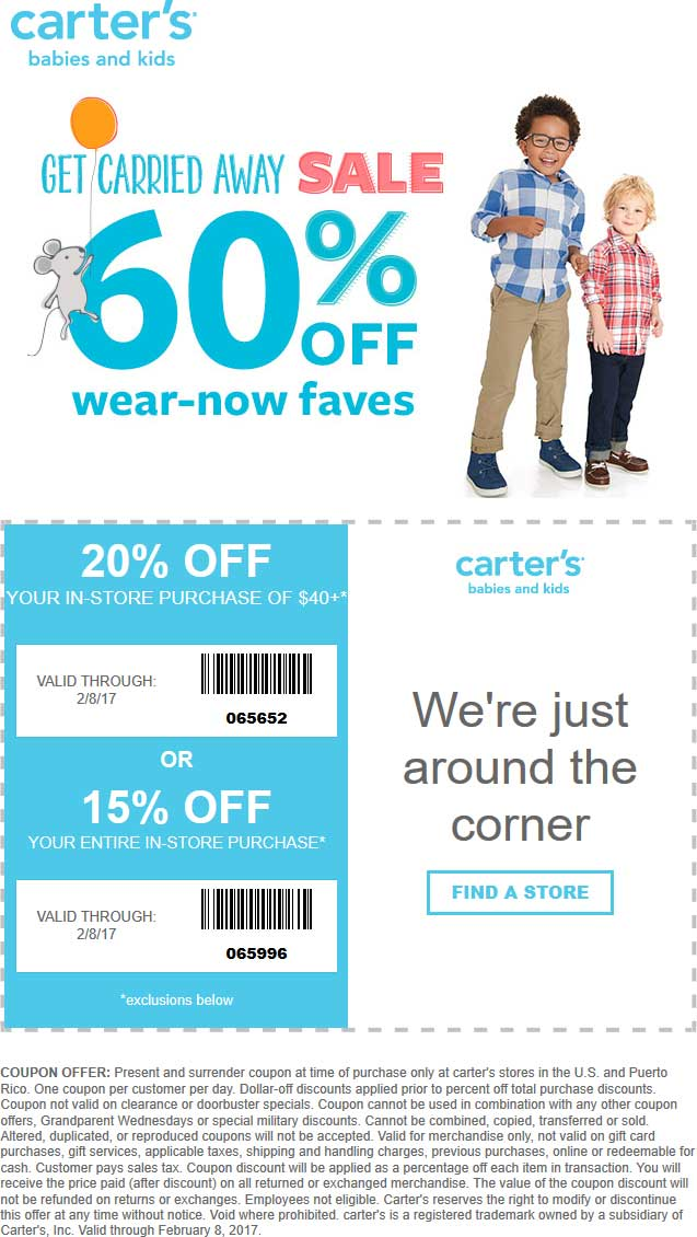 Carters Coupon January 2019 15-20% off & more at Carters