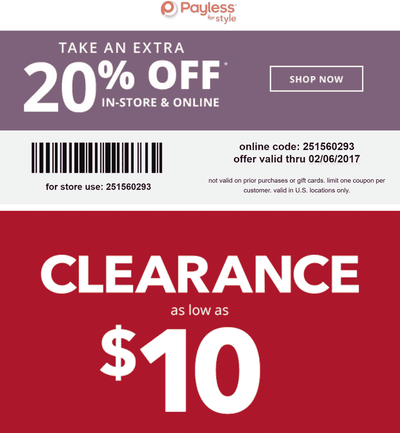 Payless Shoesource Coupon December 2018 20% off at Payless Shoesource, or online via promo code 251560293