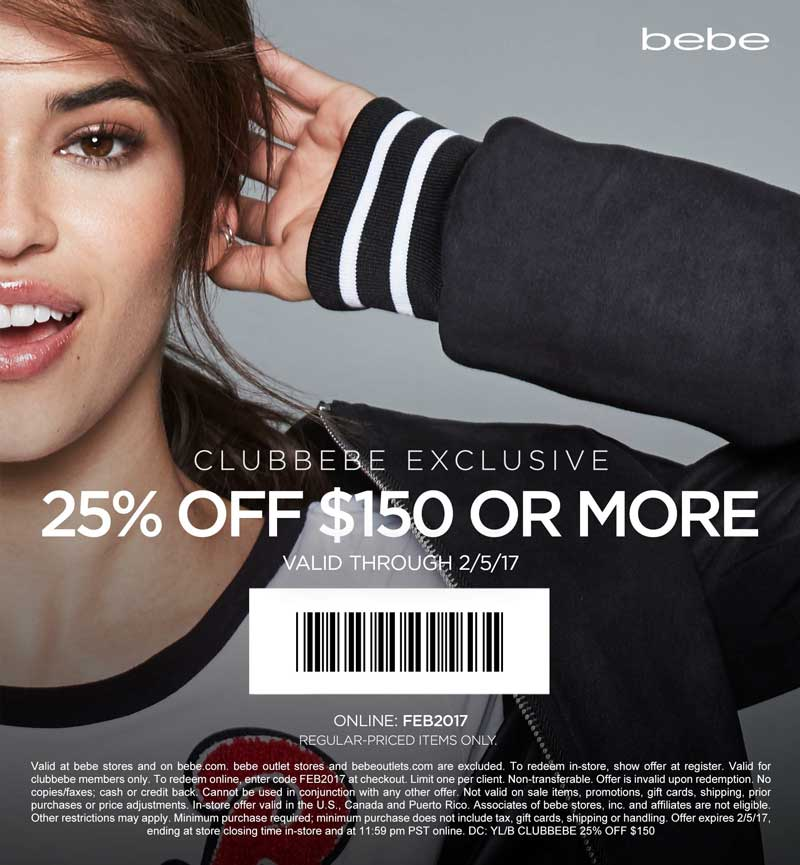 Bebe Coupon December 2018 25% off $150 today at bebe, or online via promo code FEB2017
