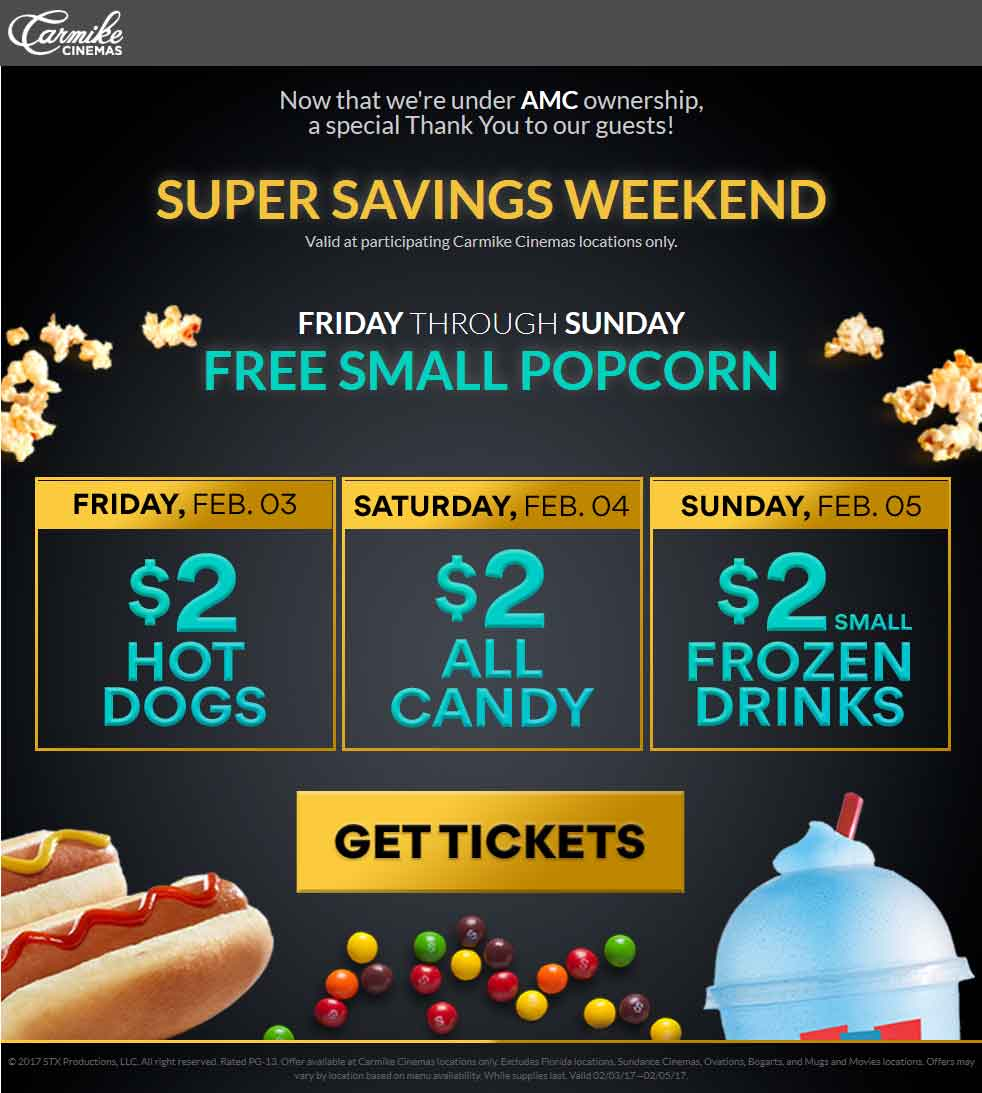 Carmike Cinemas Coupon December 2018 Free popcorn today at Carmike Cinemas