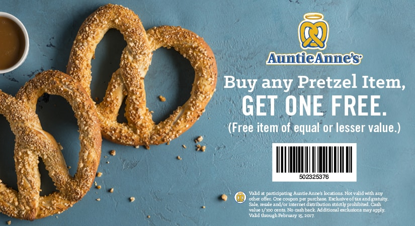 Auntie Annes Coupon October 2018 Second pretzel free at Auntie Annes