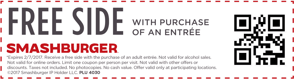 Smashburger Coupon August 2018 Free side with your entree today at Smashburger