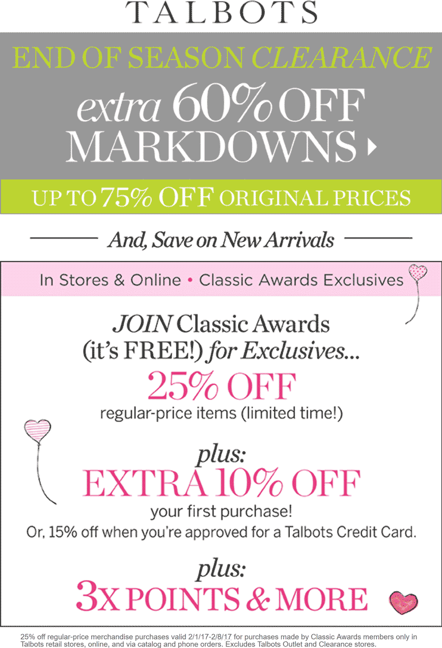 Talbots Coupon August 2018 Extra 60% off clearance & more at Talbots, ditto online