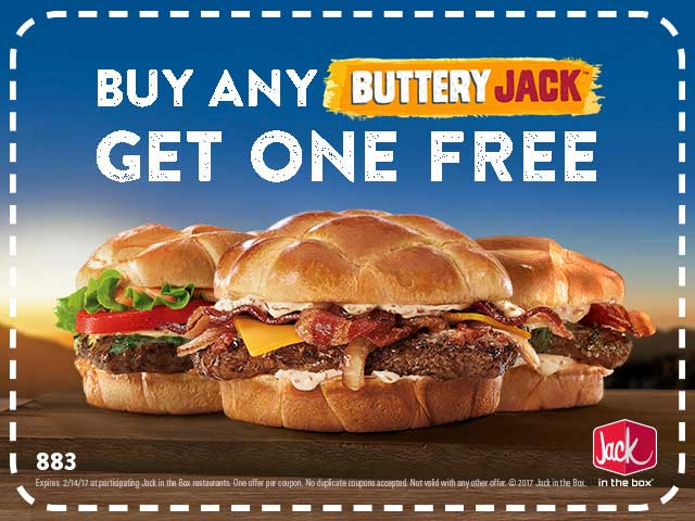 Jack in the Box Coupon October 2018 Second buttery jack burger free at Jack in the Box
