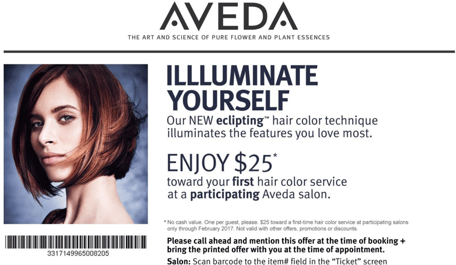 Aveda.com Promo Coupon $25 off hair coloring at Aveda salons