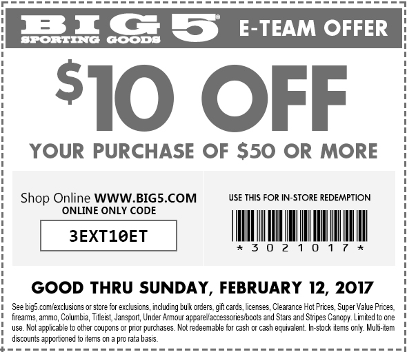 Big 5 Coupon October 2018 $10 off $50 at Big 5 sporting goods, or online via promo code 3EXT10ET