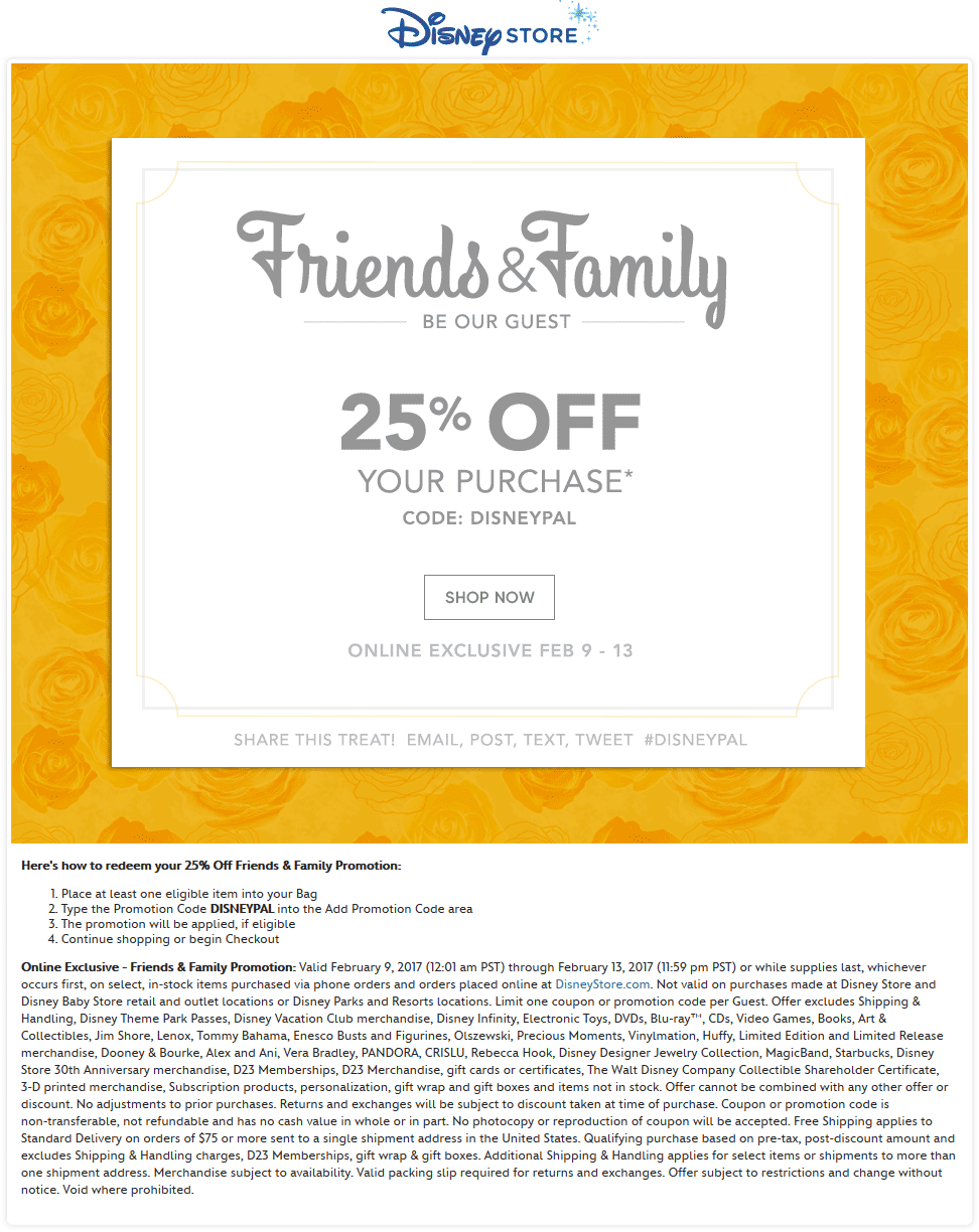 Disney Store Coupon October 2018 25% off online at Disney Store via promo code DISNEYPAL