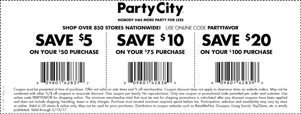 Party City Coupon December 2018 $5 off $50 & more at Party City, or online via promo code PARTYFAVOR