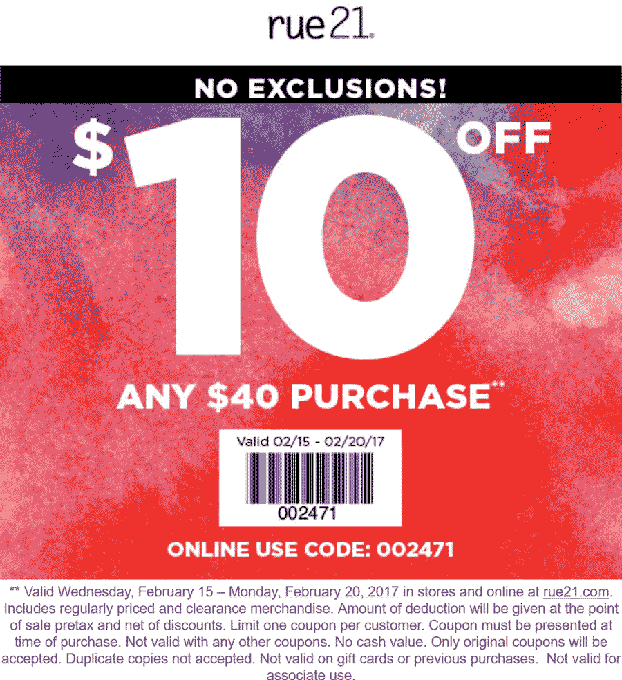 Rue21 Coupon January 2018 $10 off $40 at rue21, or online via promo code 002471