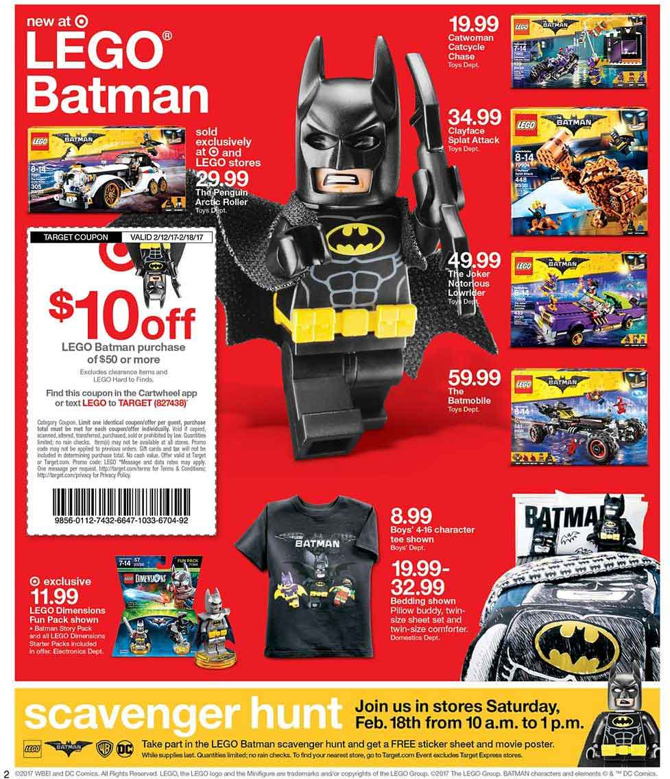 Target.com Promo Coupon Free LEGO Batman movie poster & stickers 10-1p today at Target