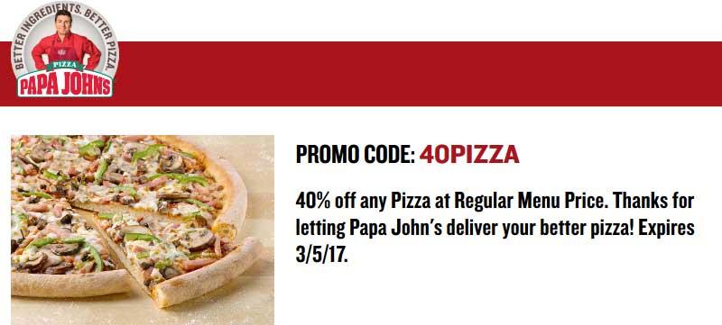 Papa Johns Coupon March 2019 40% off pizza at Papa Johns via promo code 40PIZZA