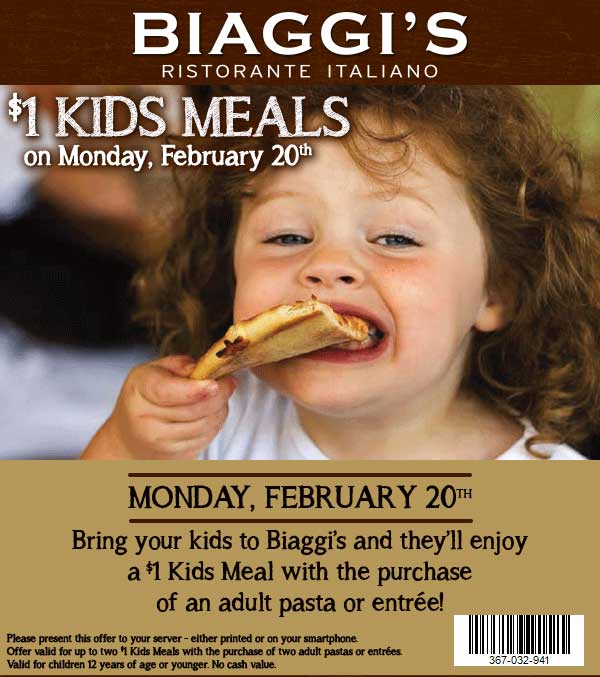 Biaggis Coupon August 2018 $1 kids meals today at Biaggis