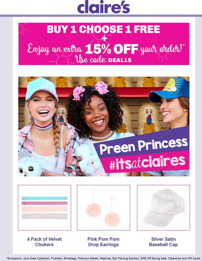 Claires Coupon March 2019 Second item free + 15% off online at Claires via promo code DEAL15