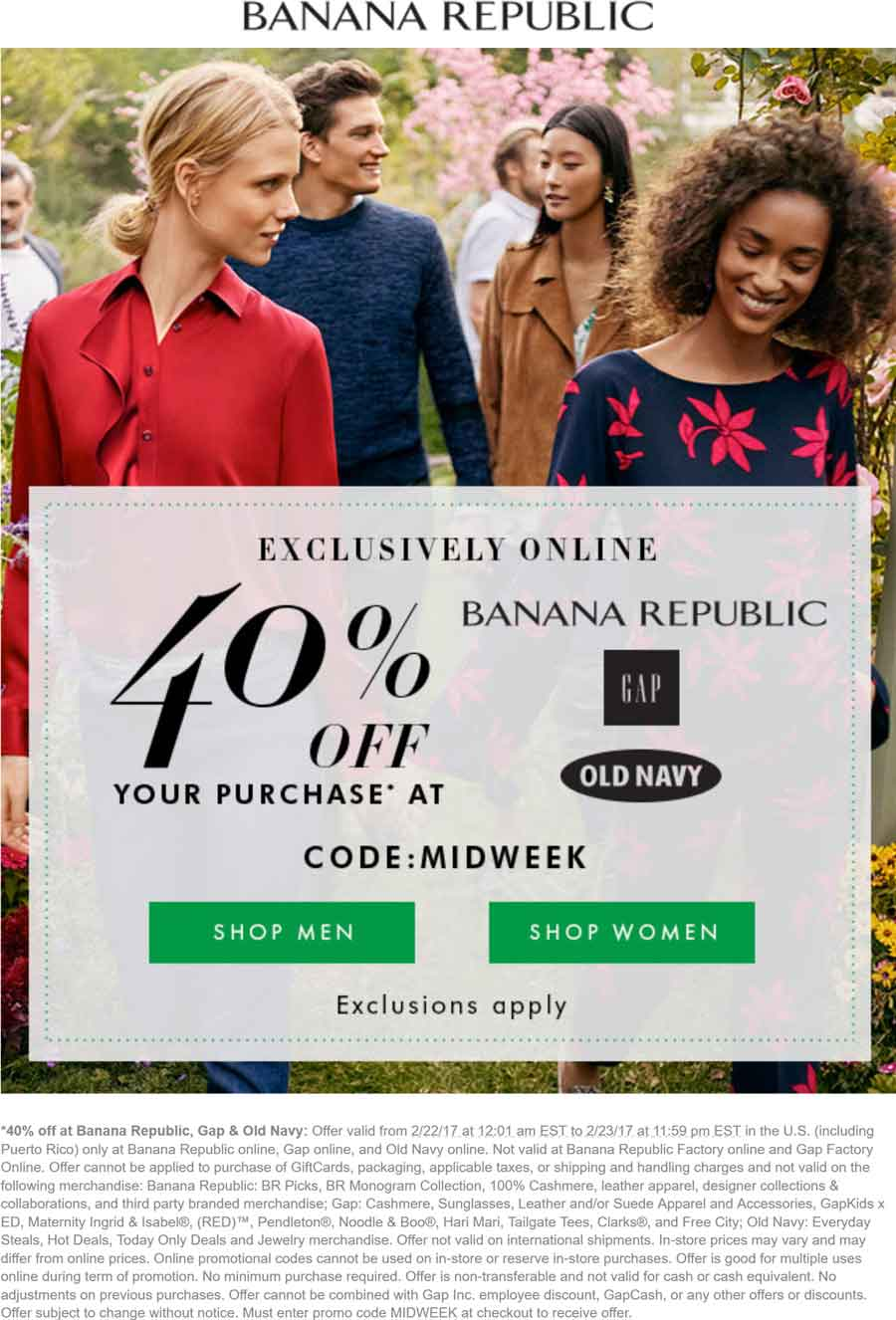 Old Navy Coupon August 2018 40% off online at Gap, Old Navy & Banana Republic via promo code MIDWEEK