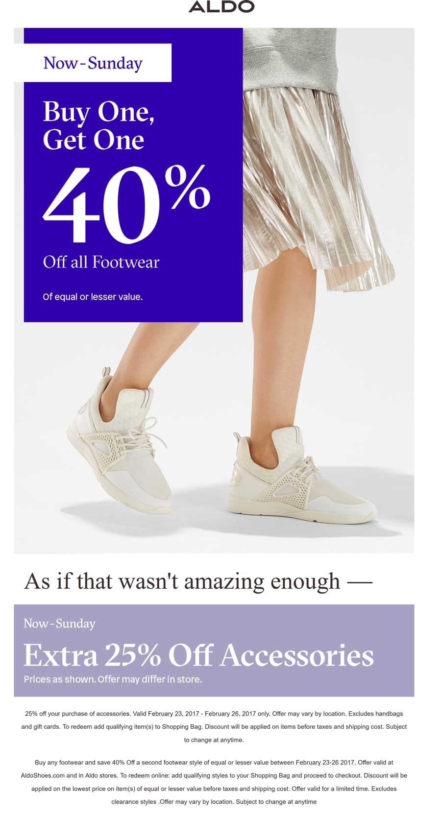 Aldo Coupon October 2018 Second item 40% off at Aldo, ditto online