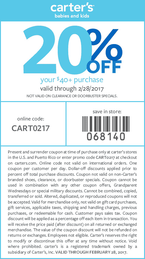 Carters Coupon October 2018 20% off $40 at Carters, or online via promo code CART0217