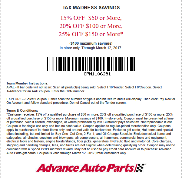 Advance Auto In Store Coupons >> Advance Auto Parts Coupons 15 25 Off 50 At Advance Auto Parts