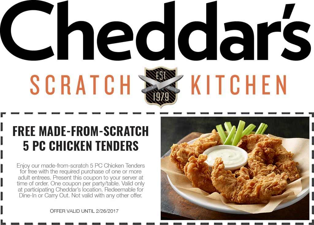 Cheddars Scratch Kitchen Coupon December 2018 Free 5pc chicken tenders with your entree at Cheddars Scratch Kitchen