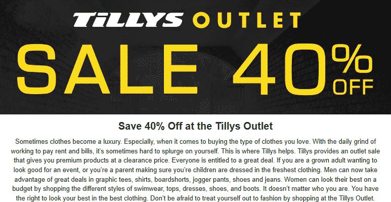 Tillys Outlet Coupon October 2018 Extra 40% off at Tillys Outlet