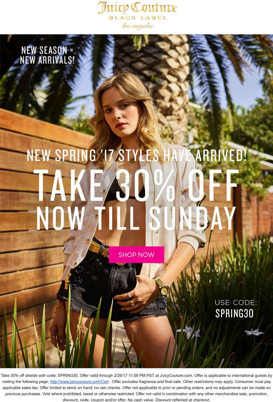 JuicyCouture.com Promo Coupon 30% off everything online at Juicy Couture via promo code SPRING30